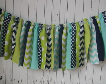 WEEKEND SALE Ends Sunday Aqua, Navy, and Lime Green Rag Banner, Fabric Rag Tie Garland, Birthday, Photo Prop, Backdrop