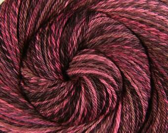 Handspun Yarn, 3 ply - CHERRY COLA - Handpainted Silk / Polwarth wool, DK weight, 282 yards