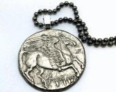 PEGASUS necklace - vintage reproduction Tetradrachm coin from Greece - winged horse - Pegasus pendant - Greek mythology