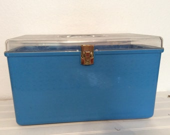 Vintage Sewing Case - Bright Blue  - Wil-Hold - Thread Storage - Vintage Sewing Supplies - Craft Sewing Room Decor - Sewing Storage
