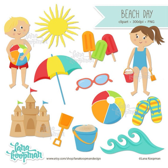 Items Similar To Summer Clipart Clipart Download Clip Art Beach Kids Clip Art Commercial Use