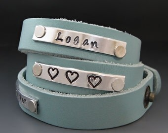 Personalized Hand Stamped Leather Wrap Cuff Bracelet - Journey Bracelet