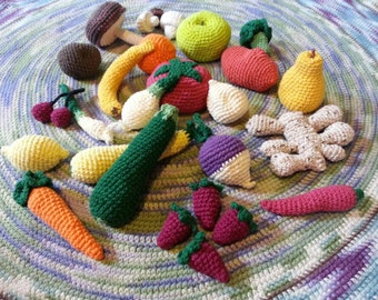 Waldorf Inspired Play Food- sturdy, heavy, crocheted fruits and vegetables