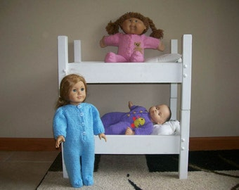 6) Knit Footed Pajamas for American Girl, Cabbage Patch, Bitty Baby and Preemie Dolls or any 15 or 18 Inch Dolls