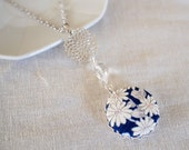 Kimono silk pendant necklace with crysanthemum flower, navy, white
