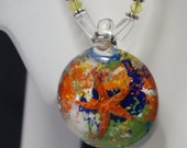 Murano Glass Starfish Pendant with Lapis and Crystal