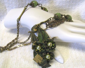 Green Verdigris Patina Leaf and Flower Rhinestone Necklace, Verdigris Patina, Olive Green, I Love you necklace