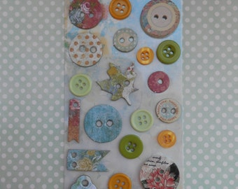 Scrapbooking Assorted Buttons Set of 21