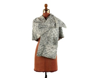 Vintage 1950's Blue + White Faux Velvet Fur Evening Shoulder Stole Cape Caplet Coat Jacket M