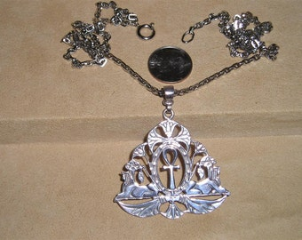 Vintage Sterling Silver Egyptian Necklace With Sphinx Ankh Cross Pendant 1960's Signed Jewelry 3008