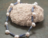 Sodalite & Freshwater White Pearl Necklace