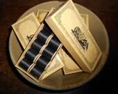 New Old Stock Antique JP Coats Box Black Thread Wooden Spools
