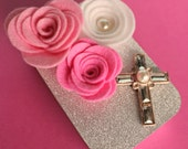 Wedding Gift Card Holder, Bridal Shower, Confirmation, Keepsake Mini Altered Tin, Felt Flowers, Crystal Cross