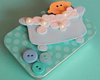 Baby Shower Gift Card Holder, Baby Boy Gift, Keepsake Mini Altered Tin, Bubbly Baby Boy