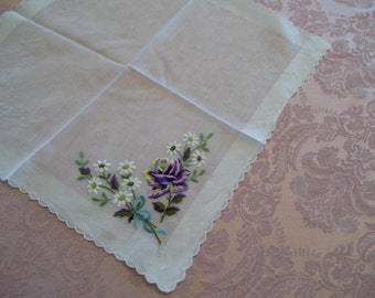 Vintage Springtime Handkerchief Embroidered Lavender Rose with Daisies