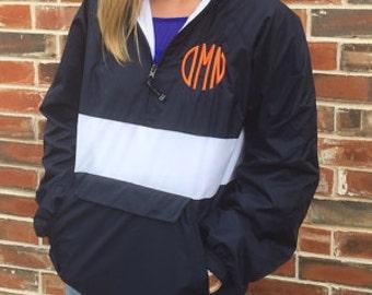 Monogrammed Personalized Navy and Orange Stripe Half Zip Rain Jacket Pullover, Monogram Pullover, Windbreaker, Monogram Jacket~10 colors