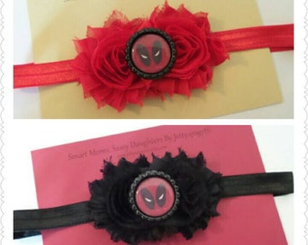 Deadpool Headband-Black Shabby Chic Flowers or Red Shabby Chic Flowers