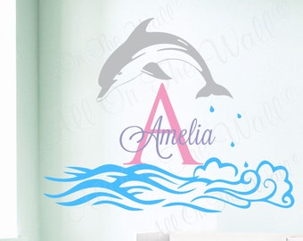 Dolphin Wall Decal Girl Name Decals Ocean Theme Decor Nursery Decals Nautical Nursery Monogram Wall Decal Kids Bedroom Decal Kids Decor Art