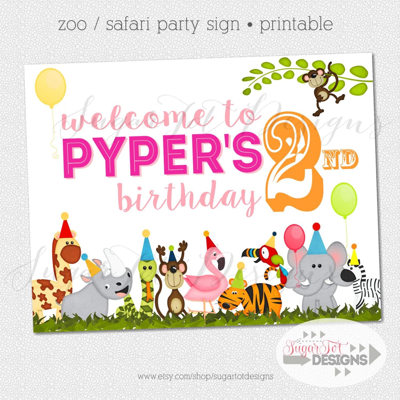 PRINTABLE Safari Party Sign Zoo Birthday Party Sign Wild