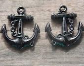 12 Black Acrylic Anchor Charms 33mm