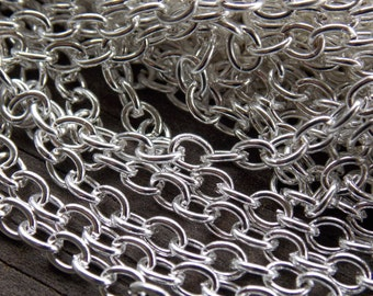 32 Ft Silver Plated Cable Chain 5mm x3.5 mm Nickel Free