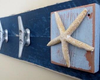 Boat Cleat Towel Hooks Blue Nautical Coat Rack Beach House Ocean Decor  Beach Decor Cottage Chic Part 83