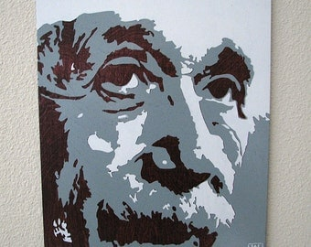 Albert Einstein Multilayer Graffiti Stencil Art on Merlot Stained Wood Panel