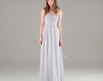 Medium Gray Chiffon Bridesmaid Dress, Backless Wedding Dress, Spaghetti Straps Party Dress, Formal Dress Floor Length (F015)