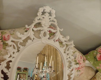 Arabesque  Rococo mirror/chalkboard, so Elegant and exquisite in a satin white, YOUR CHOICE COLOR