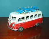 """VW Bus Model 6 1/2"""" Long Red Surfer Bus- Tin Model Love, PEACE and WOODSTOCK"""