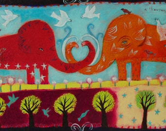 Elephant art print - Limited Edition Giclee on Canvas/ Love/Whimsical Animal Art