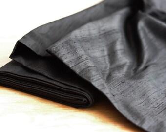 SALE - Black Dupioni silk fabric - 100% pure silk