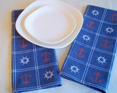 Nautical, Red Anchors and  White Ships Wheel Cotton Towels, on Navy  Background.