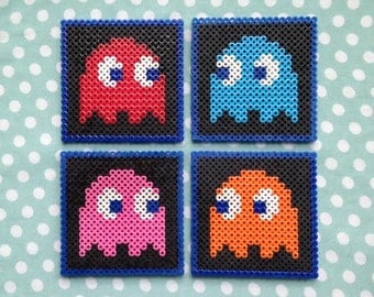 Pacman Ghosts Enemies Inspired Perler Bead Video Game Coasters Set of Four
