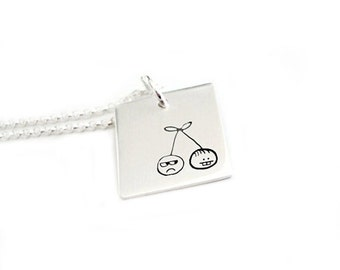 Hand Stamped Metal Sterling Silver Pendant Jewelry - The Cherry Twins - Fun Series Two