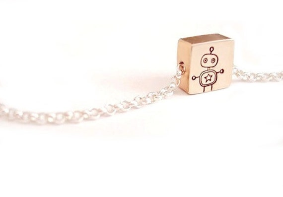 Portrait of Mr. Robot - Free Floating Tiny Square Brass Necklace Pendant Hand stamped