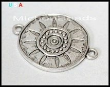BULK 20 Tibetan Style SUN Link CONNECTOR - 29x21mm Antiqued Silver Flat Round Double Sided Charm Connector - USa Wholesale Charms - 5738