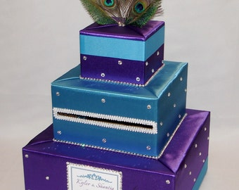 Peacock feathers theme Wedding Card Box-crystals/rhinestones-any color can be made