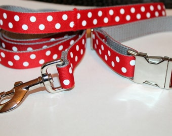 "Red and Grey Dog Collar and Leash Set 1"" wide Red and Grey Dog Collar Red  Leash Large Dog Collar Leash and Collar Set Small Dog Collar"