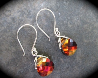 Swarovski Light Rose Volcano Briolette Earrings Sterling Silver French wire earrings NEW COLOR Amber Rose Green Flash