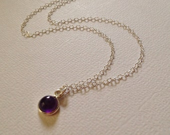 Tiny Amethyst Necklace in Sterling Silver -Silver Amethyst Necklace