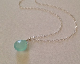 Aqua Blue Chalcedony Necklace in Sterling Silver