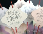 Sparkler Tags - Let Love Sparkle Wedding Favor Tags Script Custom with Names & Date - Cute, Fun Sparklers Send Off Decor (Set of 150) SS12