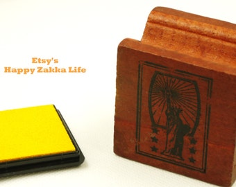 Stamp & Ink Pad Set - Stamp Statue of Liberty - 1 Stamp and 1 Ink Pad