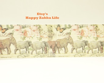 Japanese Washi Masking Tape - Elephants and Butterfly - 30mm Wide - 5.5 Yards