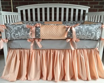 Custom  Crib Bedding  3 PC Gray  Damask Peach
