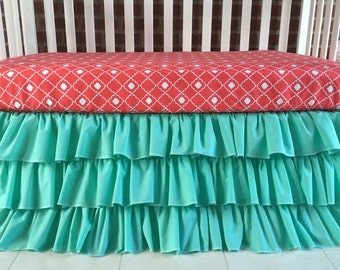 Crib Skirt and Fitted Sheet , mint/ coral