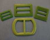 VINTAGE Buckles 1940s - Four green plastic - two flat rectangle, one square and one with rounded ends, sewing - repurpose in jewelry