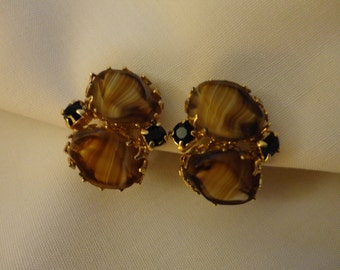 VINTAGE Earrings 1960s Clip - Gold tone pronged setting, two polished slices of Tiger Eye or Agate and two cut black stones