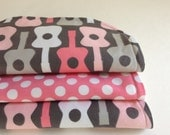 ORGANIC Terry Washcloth Set of Three Michael Miller Guitar PINK Polka Dots Eco-Friendly